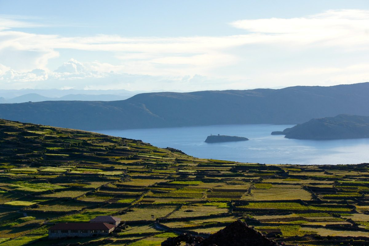 terraced farming on Amantani Island, Lake Titicaca, Peru