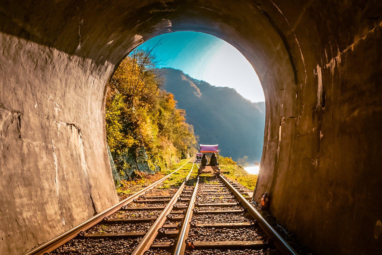 gangchon rail bike tunnel
